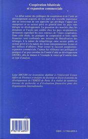 Cooperation Bilaterale Et Expansion Commerciale. L'Exp - 4ème de couverture - Format classique