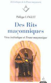 Des rites maconniques - Intérieur - Format classique