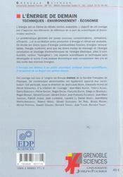 L'énergie de demain ; techniques environnement, économie - 4ème de couverture - Format classique
