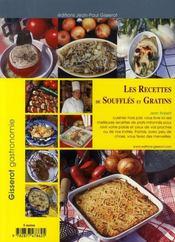 Les recettes de soufflés et gratins - 4ème de couverture - Format classique