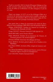 Annales D'Economie Politique Publiees Depuis 1846 Par La Societe D'Economie Politique T.57 ; Annee Academique 2009/2010 - 4ème de couverture - Format classique
