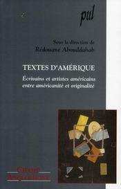 Texte d'Amérique ; écrivains et artistes américains entre américanité et originalité - Intérieur - Format classique