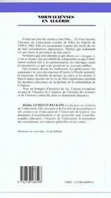 Normaliennes en algérie - 4ème de couverture - Format classique