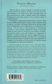 Francois Mauriac Ou La Liberte De L'Esprit - 4ème de couverture - Format classique