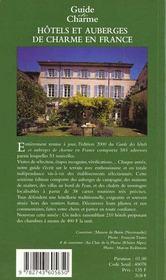 Guide de charme des auberges et hotels en france - 4ème de couverture - Format classique