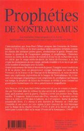 Propheties De Nostradamus - 4ème de couverture - Format classique