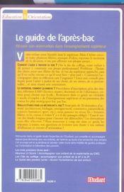 Le guide de l'après-bac ; réussir son orientation dans l'enseignement supérieur - 4ème de couverture - Format classique
