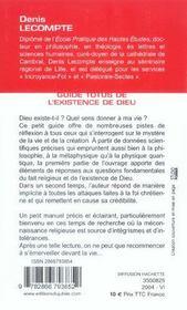 Guide Totus - De L'Existence De Dieu - 4ème de couverture - Format classique