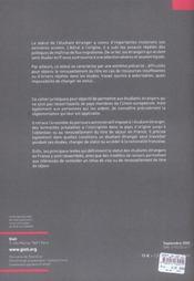 Les droits des étudiants étrangers en France - 4ème de couverture - Format classique