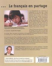 Le Francais En Partage - 4ème de couverture - Format classique
