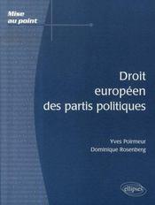Droit européen des partis politiques - Intérieur - Format classique