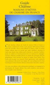 Guide de charme des maisons d'hotes en france - 4ème de couverture - Format classique