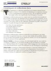 Génériques et collections java - 4ème de couverture - Format classique