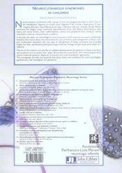 Neurocutaneous Syndromes In Children. (Les Syndromes Neurocutanes De L'Enfant) Mariani Foundation Pa - 4ème de couverture - Format classique