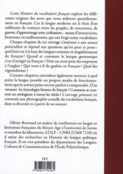 Histoire du vocabulaire français - 4ème de couverture - Format classique