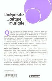 L'indispensable de la culture musicale - 4ème de couverture - Format classique