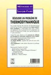 Resoudre un probleme de thermodynamique - 4ème de couverture - Format classique