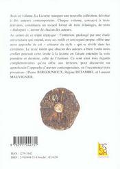 Revue La Licorne ; Dialogues Contemporains - 4ème de couverture - Format classique
