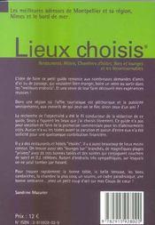 Lieux choisis ; Montpellier, Nîmes, bord de mer - 4ème de couverture - Format classique