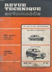 Revue Technique Automobile - Mars 1979 - N°387 - Evolution De La Construction Opel Rekord D - Etude Technique Citroën Visa Super - Couverture - Format classique
