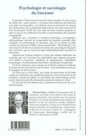 Psychologie Et Sociologie Du Fascisme - 4ème de couverture - Format classique