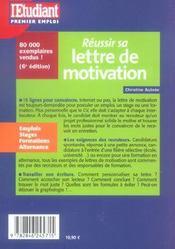 Reussir Sa Lettre De Motivation - 4ème de couverture - Format classique