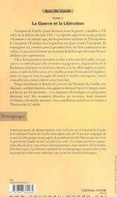 Avec Le General De Gaulle Tome 1 La Guerre Et La Reconstruction - 4ème de couverture - Format classique