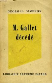 Mr Gallet Decede. - Couverture - Format classique