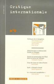 Revue Critique Internationale N.9 ; Politiques De La Biosphère - Couverture - Format classique
