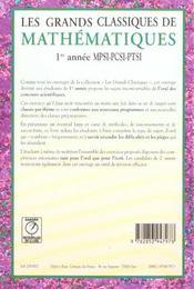 Grands classiques de maths 1ere annee mp pc pt - 4ème de couverture - Format classique