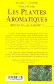 Les Plantes Aromatiques - 4ème de couverture - Format classique