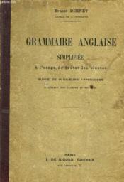 Grammaire Anglaise Simplifiee A L'Usage De Toute Les Classes - Couverture - Format classique