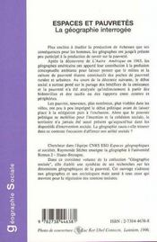 Espaces Et Pauvretes ; La Geographie Interrogee - 4ème de couverture - Format classique