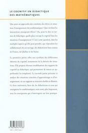 Le cognitif en didactique des mathématiques - 4ème de couverture - Format classique