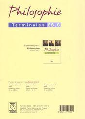 Philosophie ; terminale ES et S - 4ème de couverture - Format classique