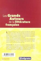 Les Grands Auteurs De La Litterature Francaise - 4ème de couverture - Format classique