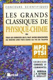 Grands classiques de physique chimie mpsi ptsi 1ere annee - Intérieur - Format classique