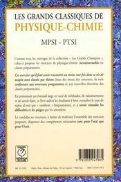 Grands classiques de physique chimie mpsi ptsi 1ere annee - 4ème de couverture - Format classique
