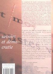 Savoirs Et Democratie - 4ème de couverture - Format classique