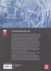 Contamination des sols plantes - 4ème de couverture - Format classique