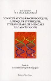 Considérations psychologiques en cancerologie - Intérieur - Format classique