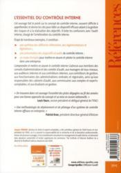 Comprendre et mettre en oeuvre le contrôle interne - 4ème de couverture - Format classique