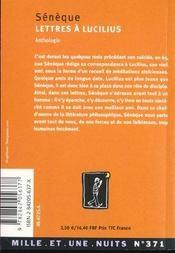 Lettres A Lucilius - 4ème de couverture - Format classique
