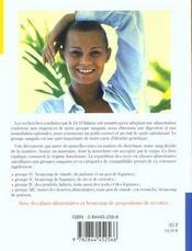 Regime Alimentaire Pour Chaque Groupe Sanguin (Un) - 4ème de couverture - Format classique