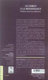 Coran a la renaissance - 4ème de couverture - Format classique