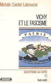 Vichy et le fascisme - Couverture - Format classique