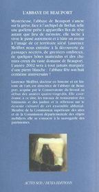 L'abbaye de beauport - 4ème de couverture - Format classique