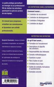 Les Entretiens Dans L'Entreprise ; De L'Entretien D'Integration A L'Entretien De Depart - 4ème de couverture - Format classique