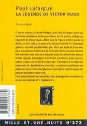 La Legende De Victor Hugo - 4ème de couverture - Format classique