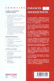 Revue Enfances Adolescences N.2 ; Cadres Et Dispositifs Thérapeutiques - 4ème de couverture - Format classique